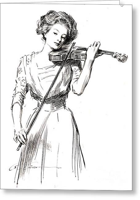 Violinist 1910 Greeting Card