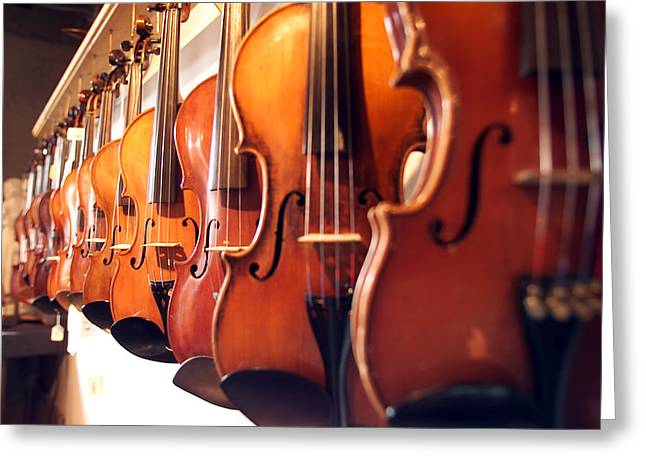Violins II Greeting Card by Jon Neidert