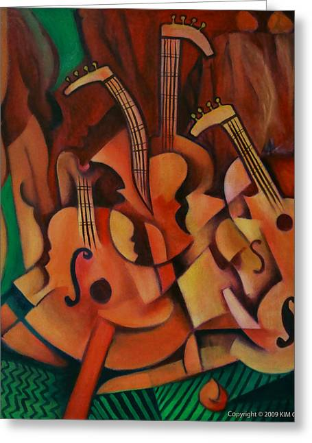 Greeting Card featuring the painting Violins With Mandolin by Kim Gauge