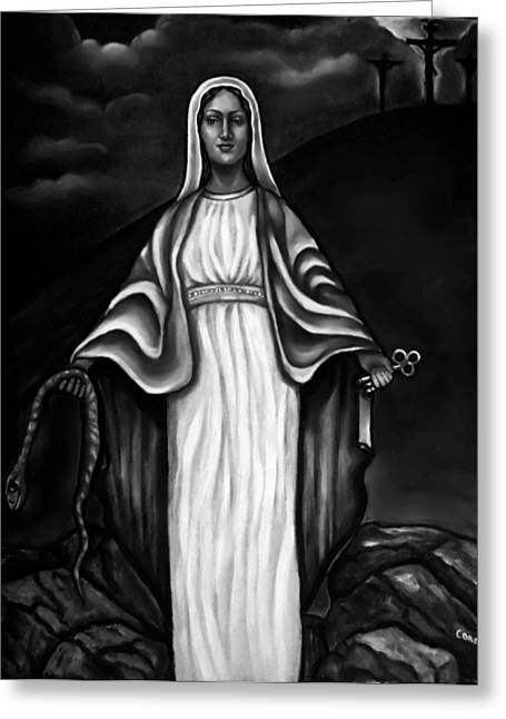 Virgen Mary In Black And White Greeting Card