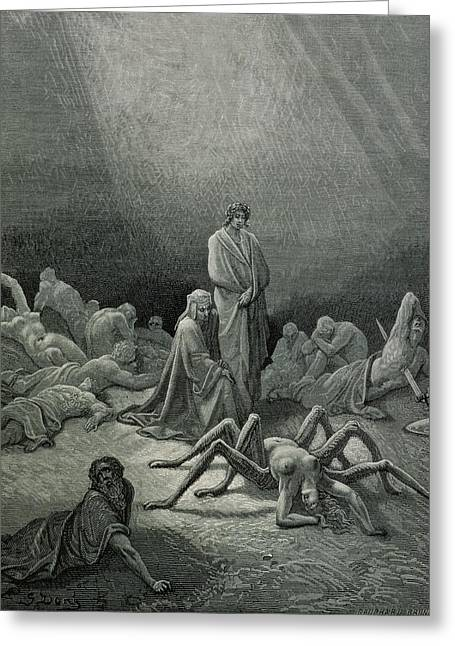 Virgil And Dante Looking At The Spider Woman, Illustration From The Divine Comedy Greeting Card by Gustave Dore