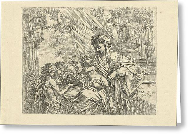 Virgin And Child Adored By Angels, Godfried Maes Greeting Card