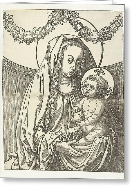 Virgin And Child, Circle Of Lucas Van Leyden Greeting Card