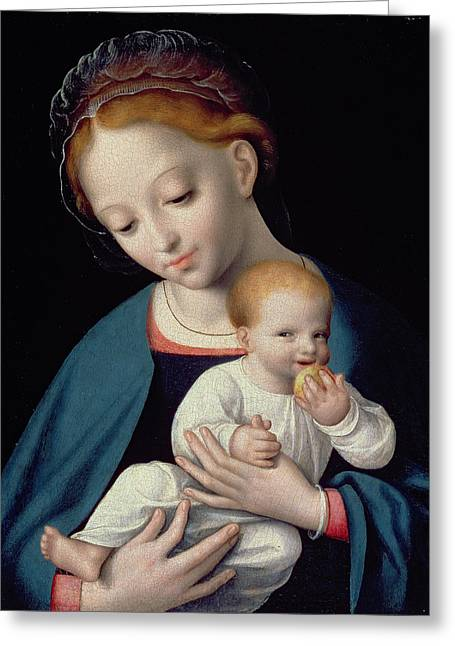 Virgin And Child Greeting Card by Cornelis van Cleve