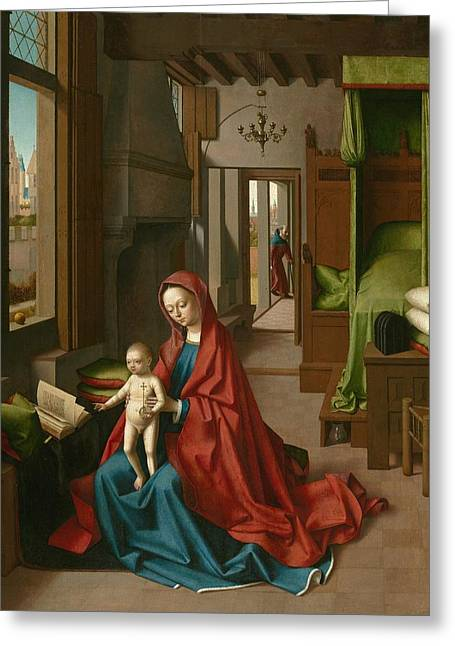 Virgin And Child In A Domestic Interior Greeting Card by Petrus Christus