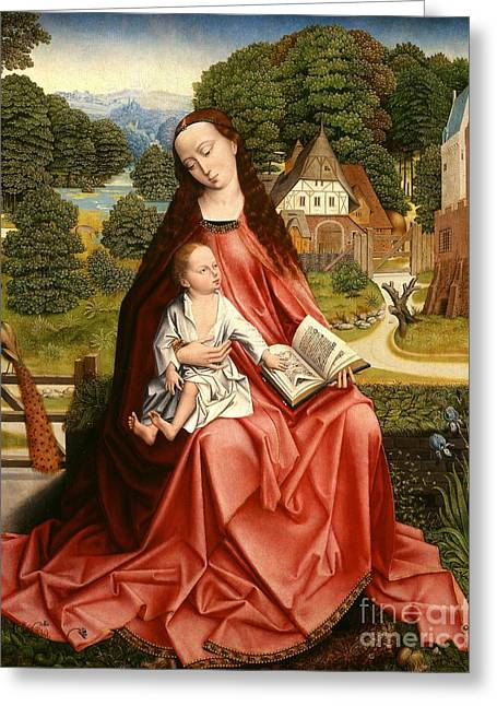 Virgin And Child In A Landscape Greeting Card by Master of the Embroidered Foliage