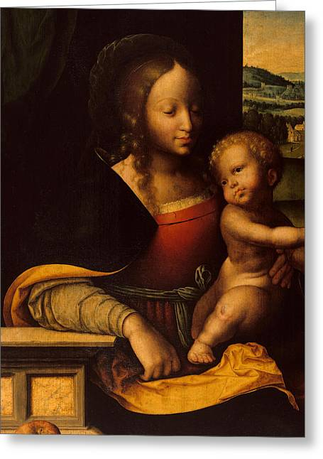 Virgin And Child Greeting Card by Joos van Cleve