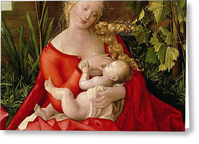 Virgin And Child Madonna With The Iris, 1508 Greeting Card by Albrecht Durer or Duerer