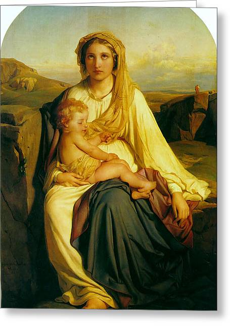 Virgin And Child Greeting Card by Paul  Delaroche