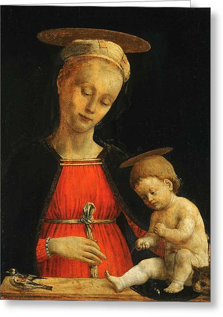Virgin And Child With A Bird And A Cat Greeting Card