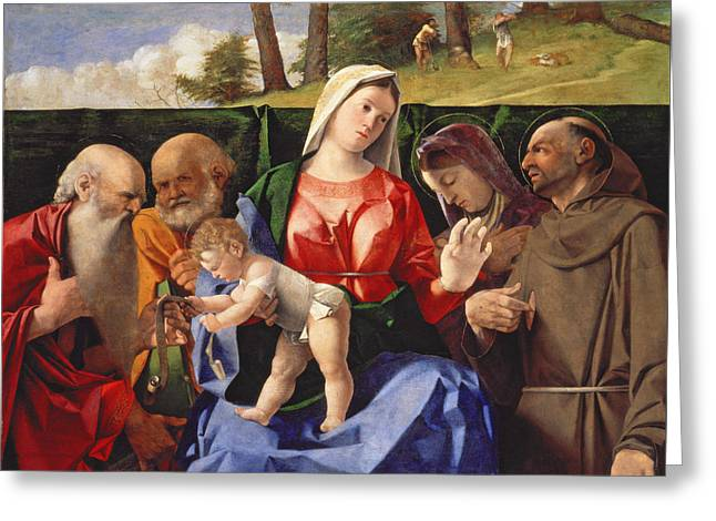 Virgin And Child With Saints Jerome, Peter, Clare And Francis Greeting Card