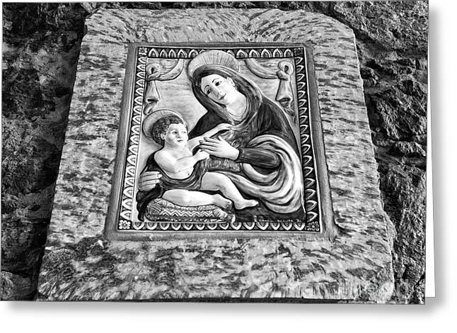 Virgin And Her Child Mono Greeting Card by John Rizzuto