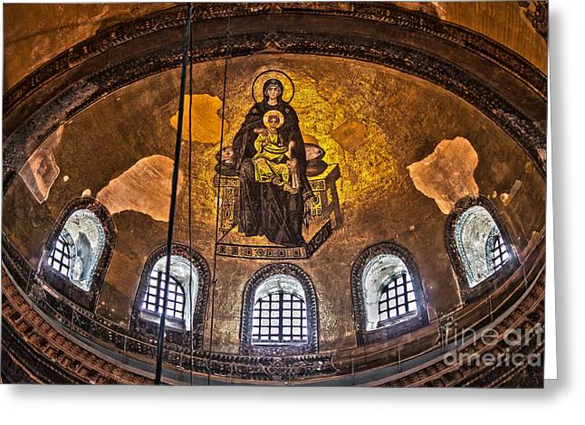 Virgin Mary And Child Mosaic At The Hagia Sophia Greeting Card
