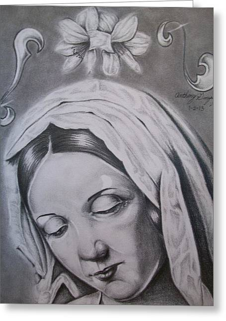 Virgin Mary Greeting Card by Anthony Gonzalez