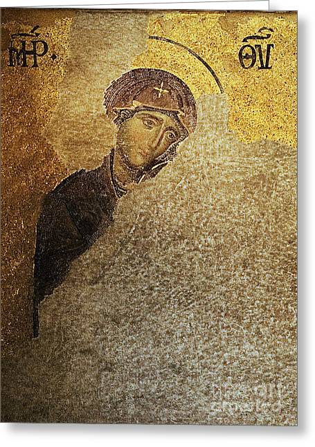 Virgin Mary-detail Of Deesis Mosaic  Hagia Sophia-day Of Judgement Greeting Card