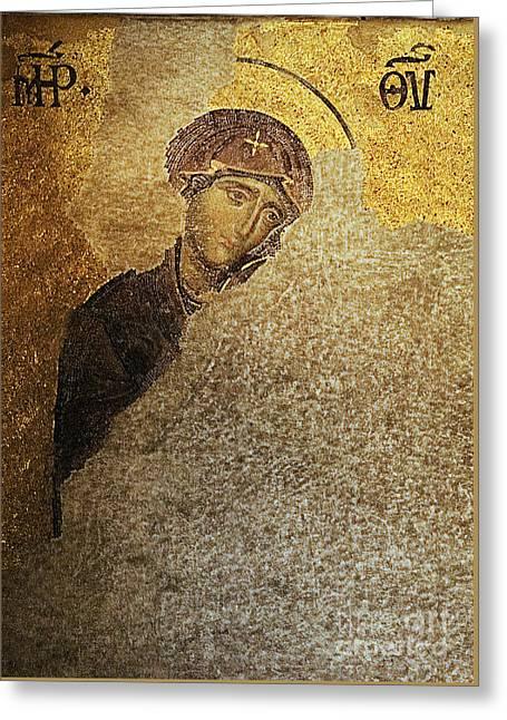 Virgin Mary-detail Of Deesis Mosaic  Hagia Sophia-day Of Judgement Greeting Card