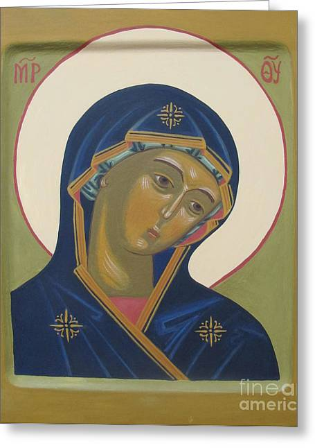 Virgin Mary Icon Greeting Card by Seija Talolahti