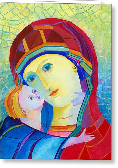 Vladimir Virgin Mary And Child, Mother Mary Madonna With Child. Polish Catholic Art  Greeting Card