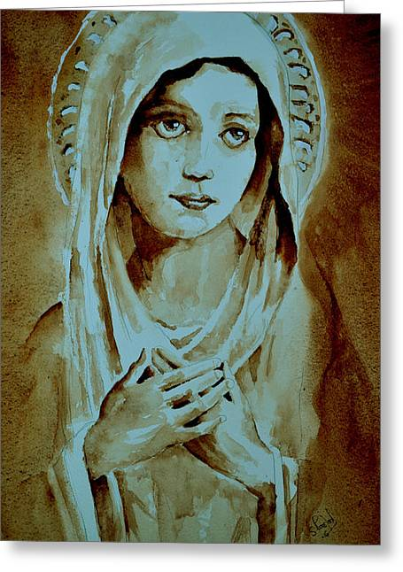 Greeting Card featuring the painting Virgin Mary by Steven Ponsford