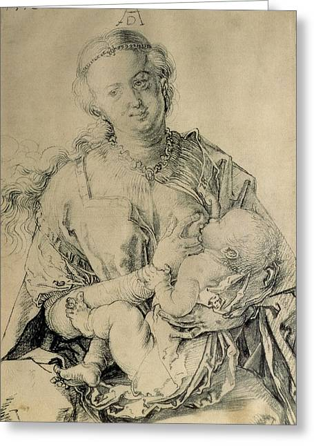 Virgin Mary Suckling The Christ Child, 1512 Charcoal Drawing Greeting Card by Albrecht Durer or Duerer