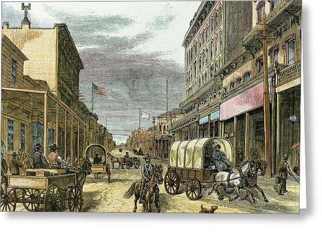 Virginia City In 1870 Greeting Card by Prisma Archivo