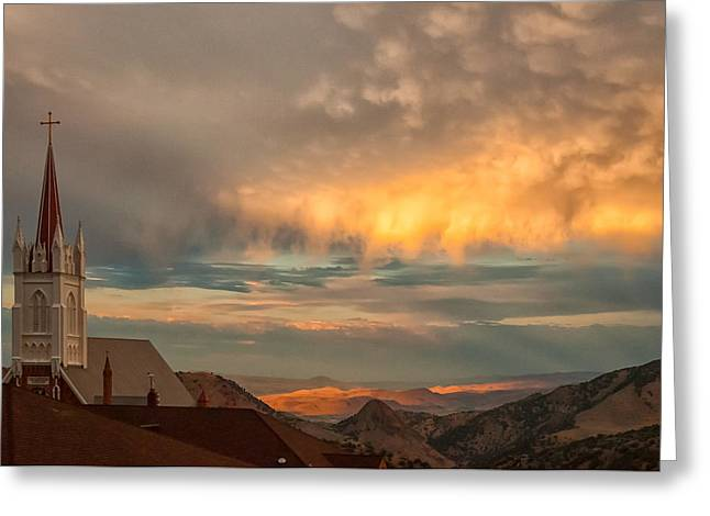 Virginia City Sunset Greeting Card by Janis Knight