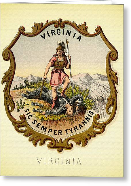 Virginia Coat Of Arms - 1876 Greeting Card by Mountain Dreams