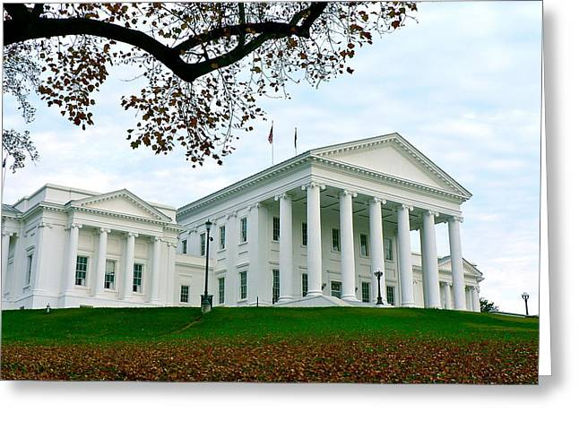 Virginia State Capitol In Autumn Greeting Card