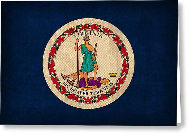 Virginia State Flag Art On Worn Canvas Greeting Card by Design Turnpike