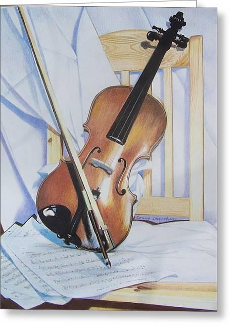 Virginia's Violin Greeting Card by Constance Drescher