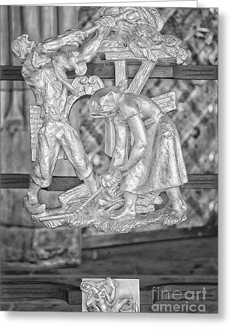 Virgo Zodiac Sign - St Vitus Cathedral - Prague - Black And White Greeting Card by Ian Monk