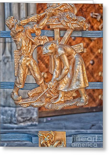 Virgo Zodiac Sign - St Vitus Cathedral - Prague Greeting Card by Ian Monk