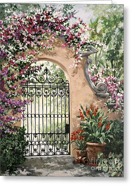 Viscaya Gate Greeting Card by Laurie Hein