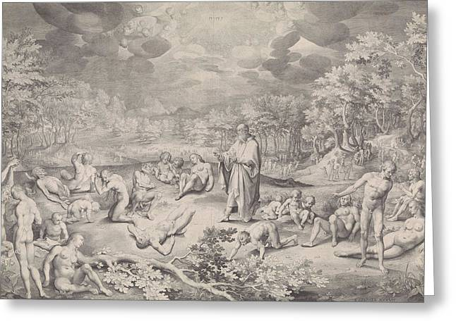 Vision Of Ezekiel Across The Valley Of Bones Greeting Card by Nicolaes De Bruyn