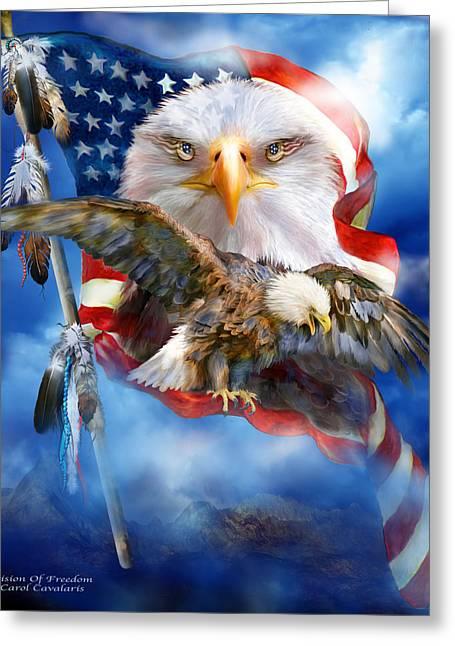Vision Of Freedom Greeting Card by Carol Cavalaris