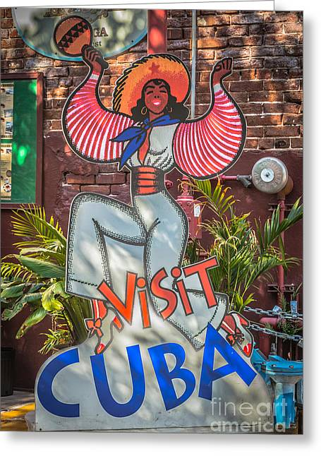 Visit Cuba Sign Key West - Hdr Style Greeting Card by Ian Monk