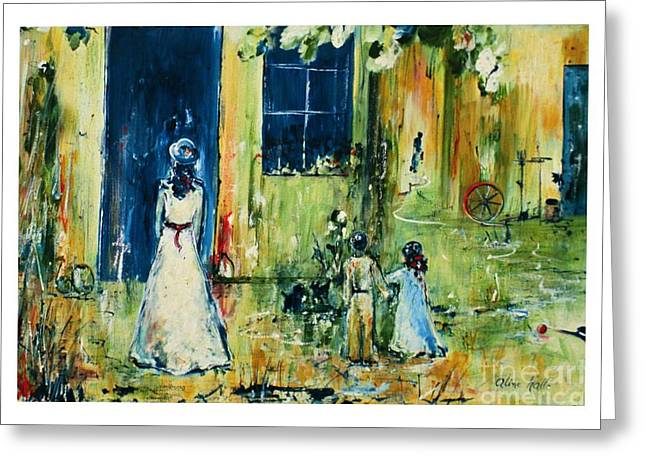 Visite Chez Grand-maman Greeting Card by Aline Halle-Gilbert