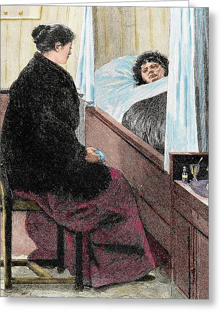 Visiting A Sick Woman Greeting Card by Prisma Archivo