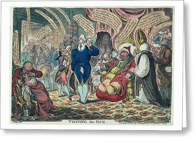 Visiting The Sick, Gillray, James, 1756-1815 Greeting Card