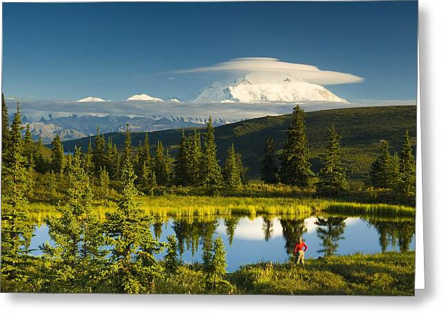 Visitor Viewing The Northside Of Mt Greeting Card by Michael DeYoung
