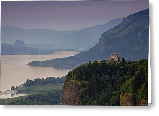 Vista House And The Gorge Greeting Card by Andrew Soundarajan