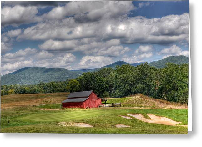 Vista Links Barn Greeting Card by Todd Hostetter