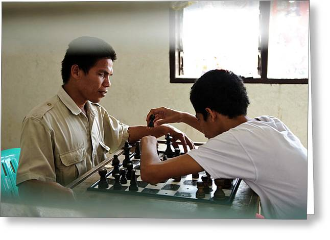 Visually Impaired People Playing Chess Greeting Card