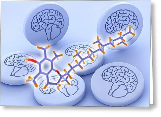Vitamin E Molecule And Brain Drug Pills Greeting Card