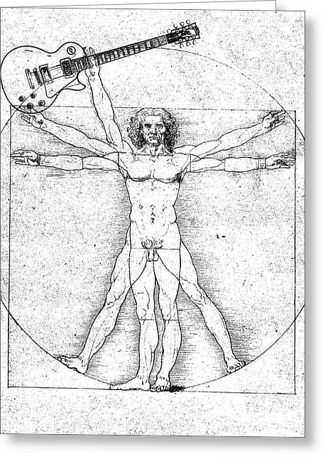 Vitruvian Guitar Man Bw Greeting Card
