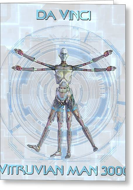 Vitruvian Man 3000 Greeting Card by Frederico Borges