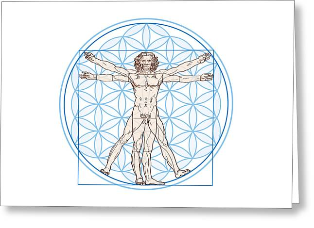 Vitruvian Man In Flower Of Life Greeting Card