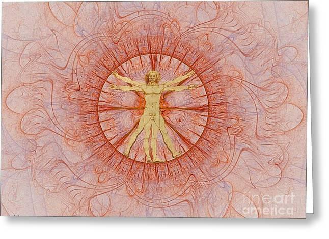 Vitruvian Man Orange Greeting Card by Gaia Ragu