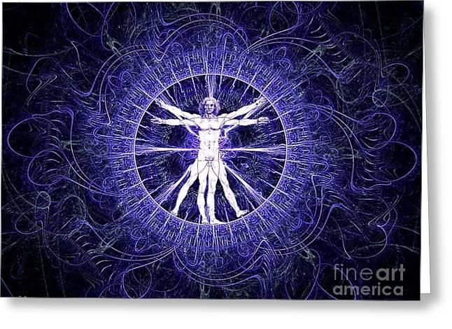 Vitruvian Man Violet Greeting Card by Gaia Ragu