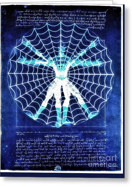 Vitruvian Spiderman White In The Sky Greeting Card